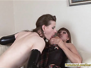 Busty milf anal fucked and cum facialed sexy shemale